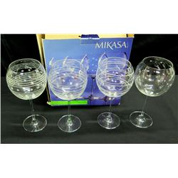 Qty 4 Mikasa Wine Glasses, Etched Designs, Original Box