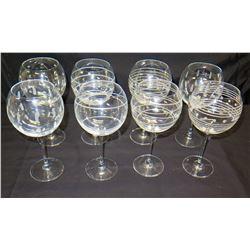 Qty 8 Festive Stemmed Wine Glasses