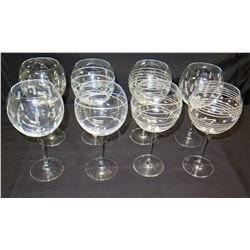 Qty 8 Festive Stemmed Wine Glasses