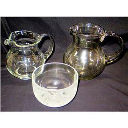 Qty 2 Glass Pitchers & Leaf- Design Bowl