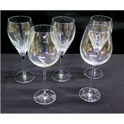 Qty 5 Stemmed Wine Glasses