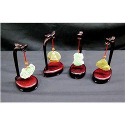 Qty 4 Red Wooden Dragon Hangers w/ Ornaments - Buddha, Lion, etc