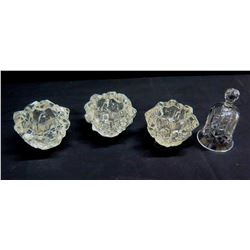 Qty 3 Glass Candle Holders & Glass Bell