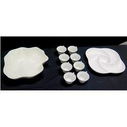 Qty 2 Large White Serving Bowls & 8 Teacups