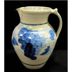 White Glazed Ceramic Pitcher w/ Blue Grapes, Has Maker's Mark