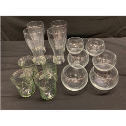 Qty 14 Misc. Glass Beverageware & Dessert Bowls