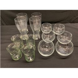 Qty 14 Misc. Glass Beverageware & Dessert Bowls