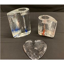 Qty 2 Glass Kosta Boda Block Candleholders & Heart-Shaped Accent Piece
