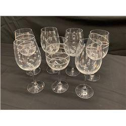 Qty 7 Festive Wine Glasses