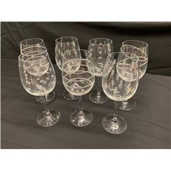 Qty 7 Festive Wine Glasses