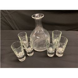 William Yeoward Etched Glass Carafe with 6 Beverage Glasses (Made in Italy)