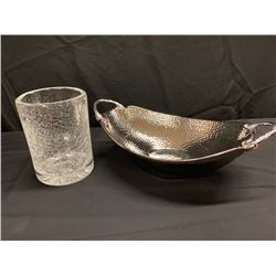 Crackle Glass Vase and Polished Metal Fruit Bowl w/ Handles