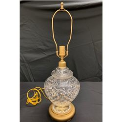 Decorative Glass Lamp with Gold Tone Accents & Round Base