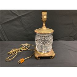 Decorative Glass Lamp with Gold Tone Accents & Square Base