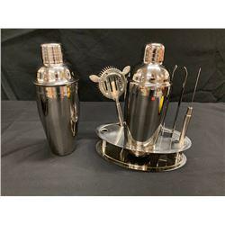 6-Piece Barware: 2 Shakers, Strainer, Tongs, Ice Pick & Stand