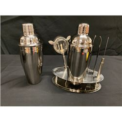 6-Piece Barware: 2 Shakers, Strainer, Tongs, Ice Pick & Stand