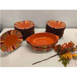 24-Piece 'Pier 1' Festive Dishware w/ Large Serving Platter & 2 Casserole Dishes