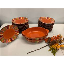 24-Piece 'Pier 1' Festive Dishware w/ Large Serving Platter & 2 Casserole Dishes
