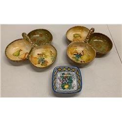 Qty 3 Neiman Marcus Glazed Ceramic Condiment Trays, Handpainted in Italy