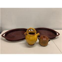 Yellow Glazed Teapot, Sugar Bowl & 2 Handwoven Claret Trays