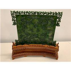 Ornate Asian Carved Jade (or Jade-like) Panel