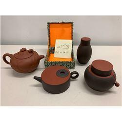 4-Piece Asian Clay Teapot Set with Decorative Box