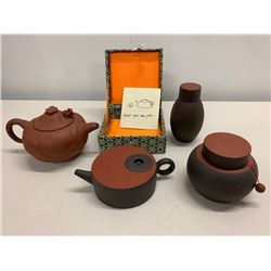 4-Piece Asian Clay Teapot Set with Decorative Box
