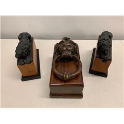 Sleeping Lion Bookends and Lion's Head Door Knocker