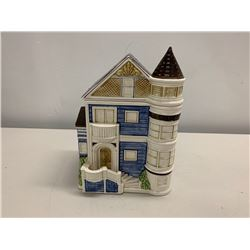 "Decorative Blue & White Glazed Ceramic House with Tower, 11"" Tall"