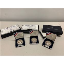 Qty 3 United States 1991 USO Silver Dollars w/ Certificates of Authenticity & Cases
