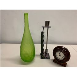 Green Glass Vase, Geometric Candle Holder, Small Table Clock