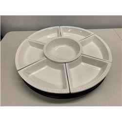 "7-Section Round Spinning Crudite Tray (19 3/4"" x 19 3/4"")"