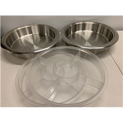 Qty 2 Stainless Steel Hors D'oeuvres Trays w/2 Removable Plastic Inserts