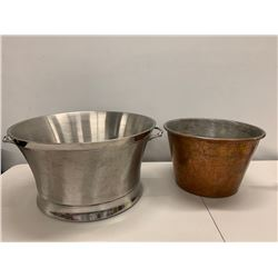 Frontgate Brushed Metal Ice Bucket & Burnished Metal Ice Bucket