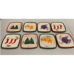 Qty 8 Square Christmas Plates, Handpainted in Italy