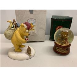 Classic Pooh Figurine and Decorative Christmas Holiday Bear in a Snow Globe