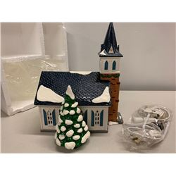 Minitiature Ceramic Snow Village Church w/ Lighting