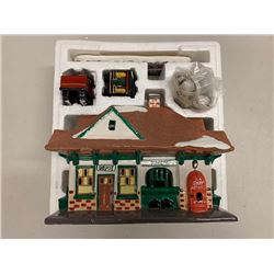 "Minitiature Ceramic Snow Village Train Depot w/ Train & Lighting 27.5""L x 10""W x 22.5""H"