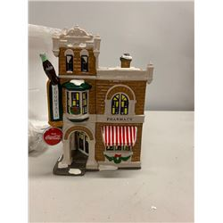 Miniature Ceramic Snow Village Pharmacy and Soda Fountain w/ Lighting