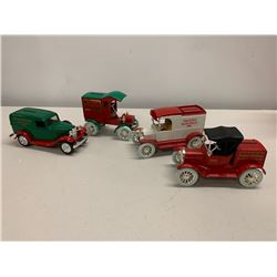 Qty 4 Seasonal Miniature Piggy Bank Cars from Sachs Finley 1991,1992, 1993