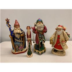 Qty 4 Santa Claus Christmas Holiday Figurines