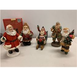 Qty 5 Santa Claus Christmas Holiday Figurines