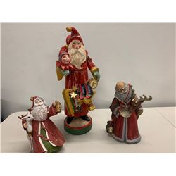 Qty 3 Santa Claus Christmas Holiday Figurines