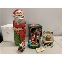 Qty 4 Misc. Santa Claus Christmas Figurines, Coca Cola, Snow Globe, etc.