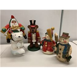 Qty 4 Christmas Holiday Figurines - Santa Claus, Bear, Snowmen, etc.