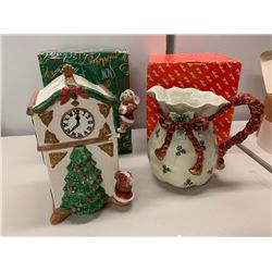Hand Painted Christmas-Themed Ceramic Cookie Jar and Pitcher