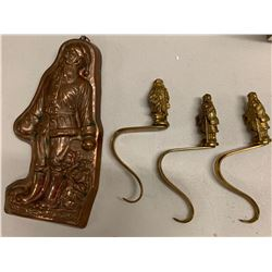 Santa Claus Cookie Cutter Mold Ornament & 3 Metal Santa Claus Stocking Hooks
