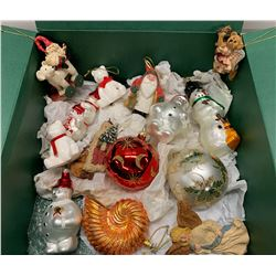 Large Assortment of Tree Ornaments: Misc. Santa Claus, Bulbs, Snowman, Angels, Bears,  etc.