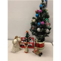 Qty 5 Christmas Decorations: Tall Decorated Tree, Misc. Trees, Snowman, Angel, etc.