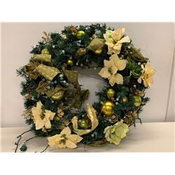 Very Large Wreath Decorated with White Poinsettias & Lghts